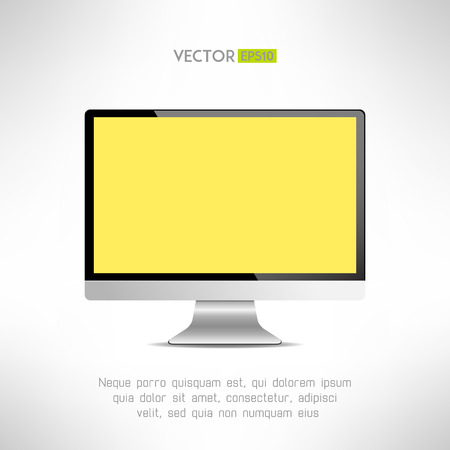 lcd: Realictic lcd monitor computer display. Tv screen. Vector illustration