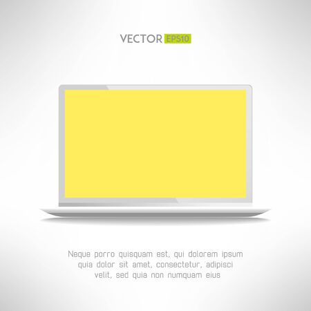 laptop screen: Realictic light laptop computer with yellow screen. Vector illustration