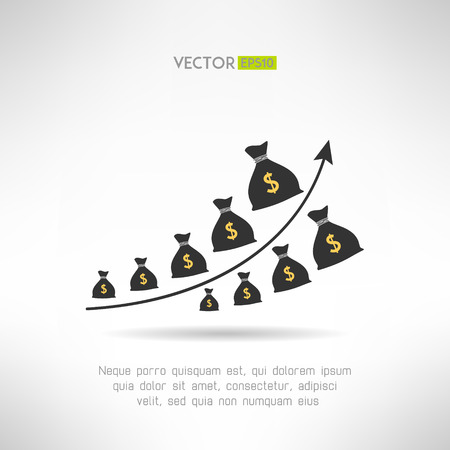 raise: Financial graph with money bags. Income raise concept. Earnings chart. Vector illustration Illustration