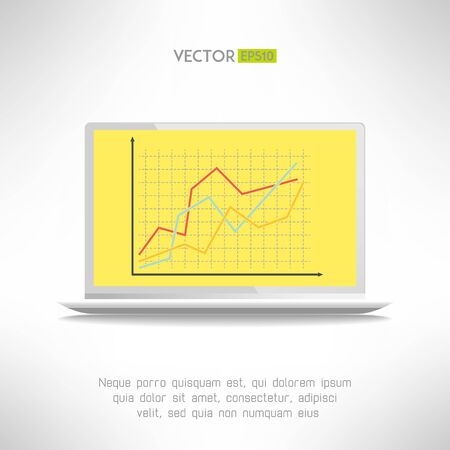 realictic: Realictic light laptop computer with financial chart on the screen. Vector illustration Illustration