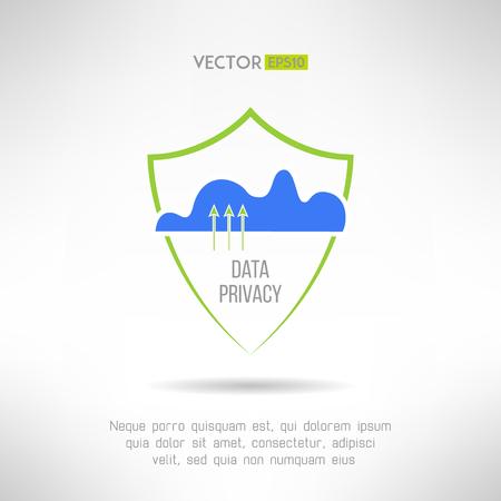 guardia de seguridad: La seguridad informática en la nube. Concepto de protección de datos. Ilustración vectorial Vectores