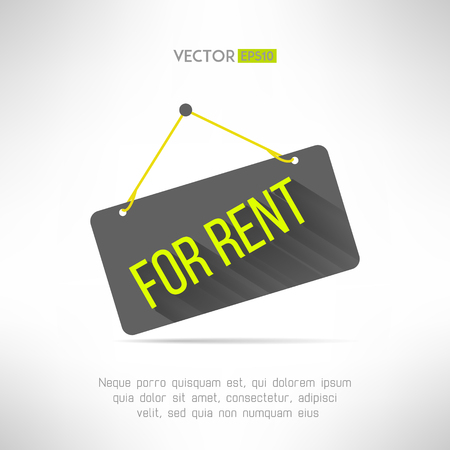 for rent sign: For rent sign made in modern flat design with long shadow. Property rental concept. Real estate offer symbol. Vector illustration