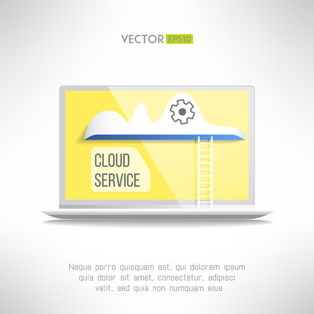 Cloud on a notebook with a ladder icon. Network technology in progress. Remote storage concept. Vector illustration Vector