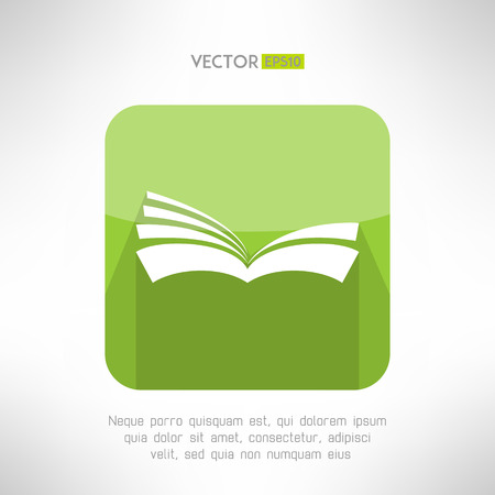 reader: Green book icon. Notebook sign. Learning and ebook reader concept. Vector