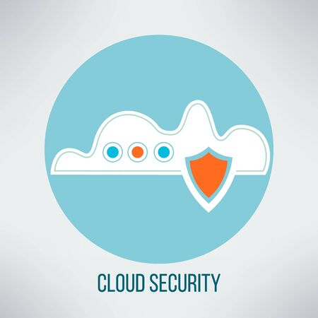 computer security: Cloud computing security icon. Data protection concept symbol. Vector illustration