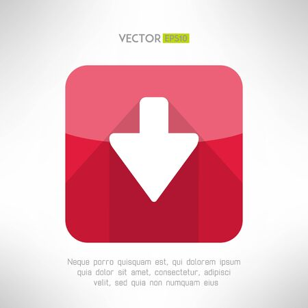 bunner: Download icon im modern flat design. Clean and simple down arrow sign. Vector illustration