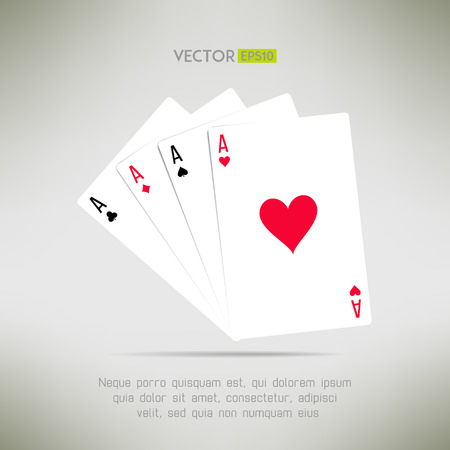 aces: Four aces hand in realistic and clean design. Card games template. Vector illustration
