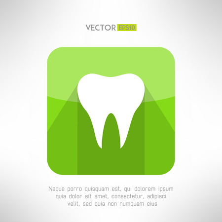 toothcare: Tooth icon made in modern clean and simple flat design. Dental sign with long shadow. Vector illustration Illustration