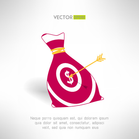 earning: Money bag icon with aim and arrow. Money earning concept. Vector illustration