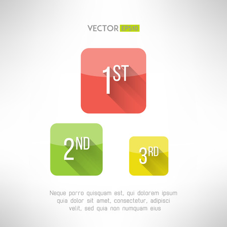 achievment: First second and third place icons made in modern simple flat design. Comtetion winners signs with long shadow. Achievment concept. Vector illustration