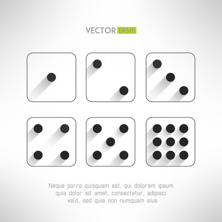 Black and white dice icons set in modern flat design. Craps with long shadows. Casino element. Vector illustration.
