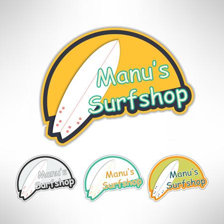 print shop: Surfboard label icon or surging shop board. T-shirt print. Surfing banner. Vector illustration.