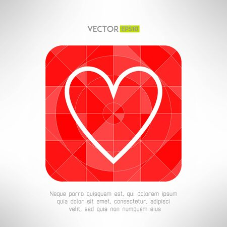 Red white heart icon in modern geometrical design. Social network like low poly symbol. Vector illustration