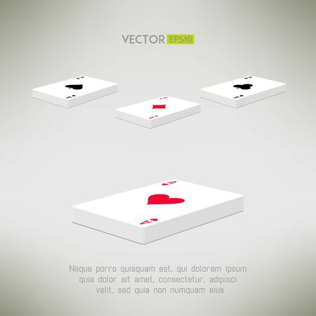 cards deck: Playing cards deck with ace on top in realistic and clean design. Card perspective composition. Vector illustration