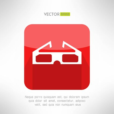 movie theater: Cinema 3d glasses icon in modern clean and simple flat design. Modern movie theater equipment. Vector illustration