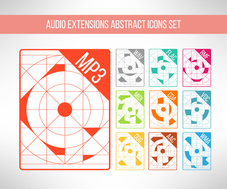 technologic: Audio format icons set im modern abstract geometrical clean design. Music signs. Vector illustration Illustration