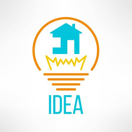 House icon made in modern clean and simple flat design. Home symbol in light bulb. Vector illustration. Vector