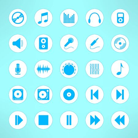 dvd rom: Audio icons set made in clean and simple design. Music signs. Vector illustration.