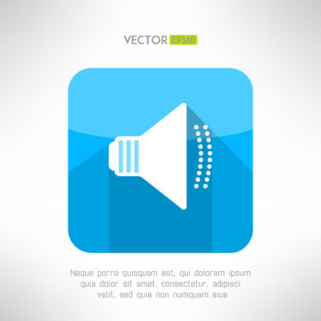moder: Audio speaker icon in moder flat design. Clean and simple megaphone sign with long shadow. Vector illustration.