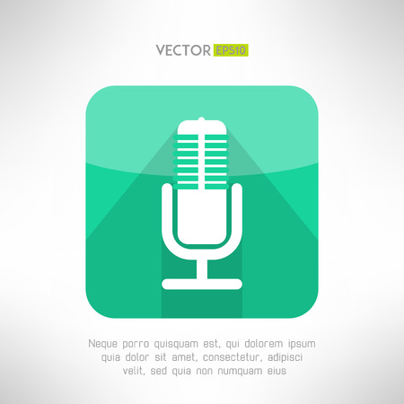 radio station: Radio station microphone icon in modern flat design. White and simple mic sign with long shadow. Vector illustration.
