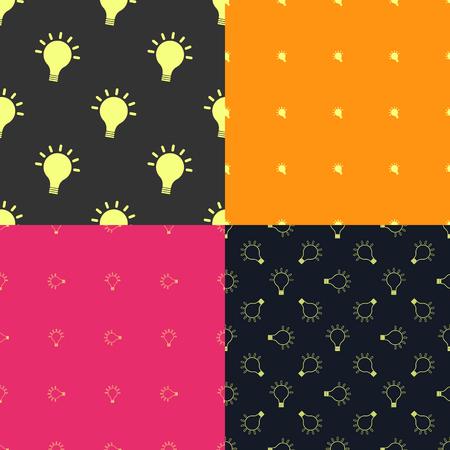Light bulb creativity seamless patterns set. Inspirational background. Vector illustration Vector