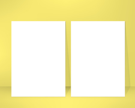 leaned: Empty brochure design template leaned against a wall. Pair of clean emty sheets. Vector illustration Illustration