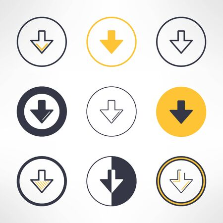 bunner: Download icons set in different design. Clean and simple down arrow signs. Vector illustration.