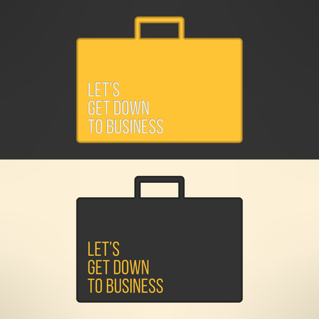cite: Business text background on a suitcase sign. Yellow text frame on gray background. Vector illustration.