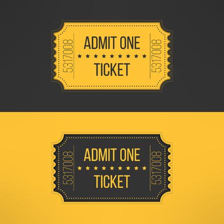 Billete de entrada en el estilo elegante de la vendimia. Admita un cine, teatro, parque zoológico, fiesta, carnaval, conciertos, eventos de circo. Pase icono de boletos en línea de reserva. Ilustración del vector.