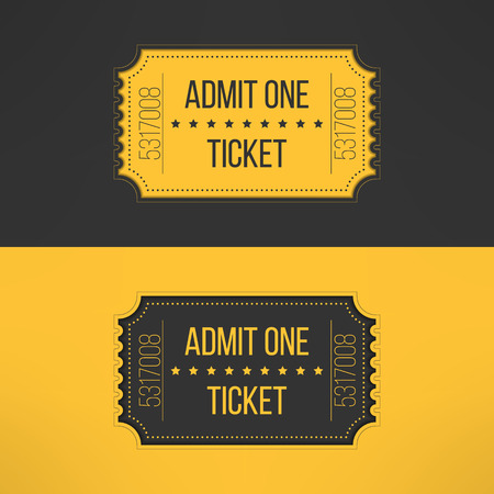old movie: Entry ticket in stylish vintage style. Admit one cinema, theater, zoo, festival, carnival, concert, circus event. Pass icon for online tickets booking. Vector illustration.