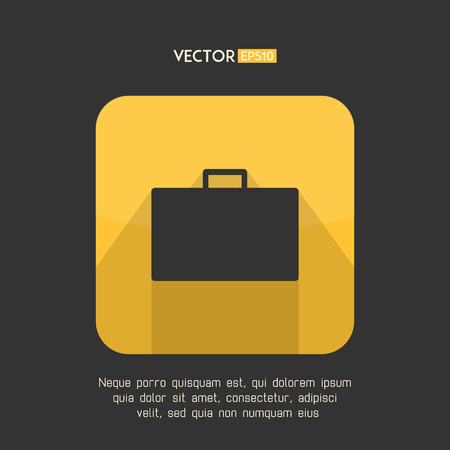 business case: Suitcase icon in modern flat design. Yellow and gray baggage symbol with long shadow. Business case emblem. Vector illustration. Illustration
