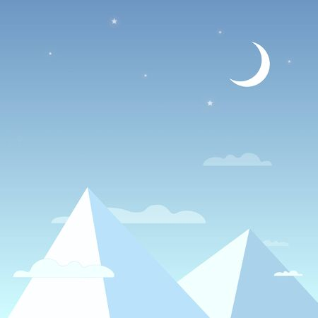 peaks: Mountains in the night sky in a simple light design. Mountain peaks with the clouds, bright stars and the moon. Vector illustration. Illustration