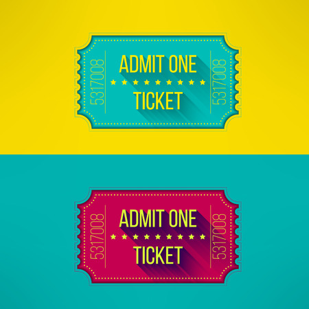 admit one: Entry ticket in modern flat design with long shadow. Admit one cinema, theater, zoo, festival, carnival, concert, circus event. Pass icon for online tickets booking. Vector illustration.