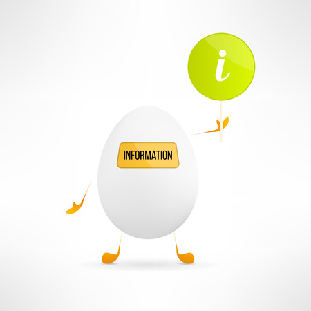 indicator board: Happy cartoon egg creature with information sign. Cute assistance robot with indicator board. Funny help service character. Vector illustration Illustration