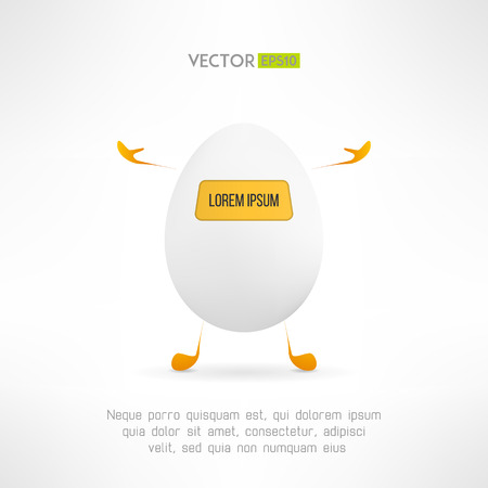 indicator board: Happy cartoon egg creature. Cute simple robot with indicator board. Funny help service character. Vector illustration Illustration