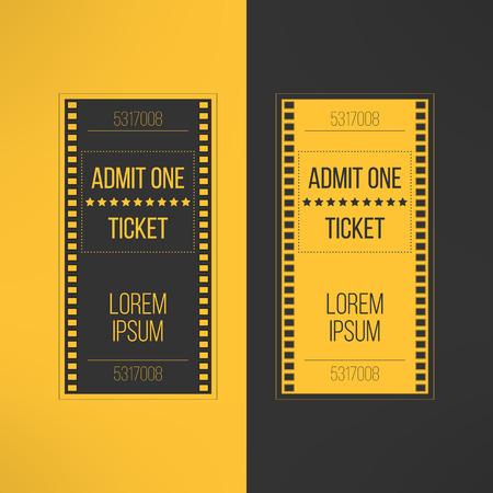 cinta pelicula: Entrada de cine Entrada en estilo filmaciones. Admita un invitación al evento de cine. Pase icono de boletos en línea de reserva. Ilustración del vector.