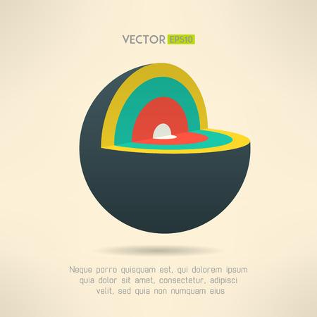esfera: Sección de iconos Esfera en diseño colorido. Círculo elemento capas infografía. Ilustración del vector.