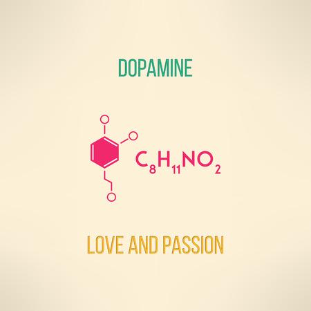 愛と情熱の化学概念。ドーパミン分子背景モダンなフラット デザインで行われました。ベクトルの図。