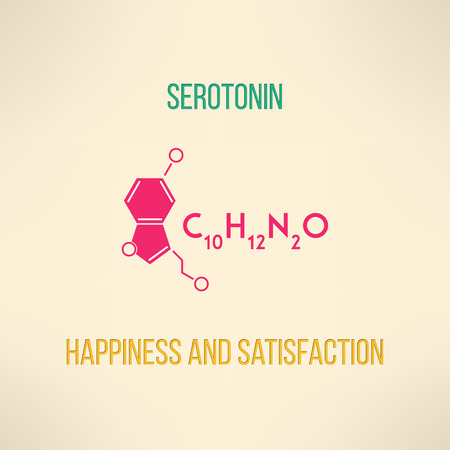 Happiness and satisfaction chemistry concept. Serotonin molecule formula background made in modern flat design. Vector illustration.
