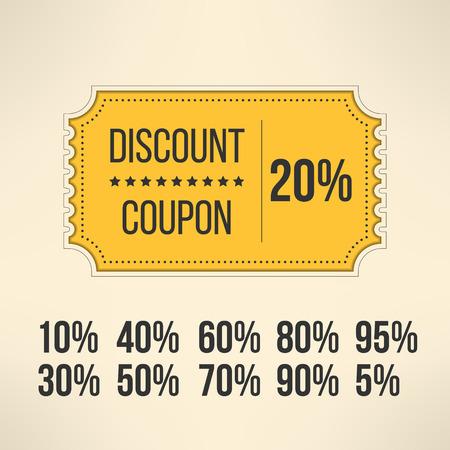 Discount promotion coupon in vintage design. Sale gift voucher card. Vector illustration