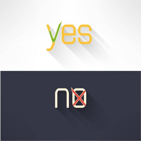 denial: Yes and no button checkmark in modern flat design. Acceptance and denial signs. Vector illustration Illustration