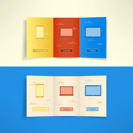 Modern three fold brochure leaflet cloud computing design template with laptop smartphone and tablet. Vector illustration. Vector