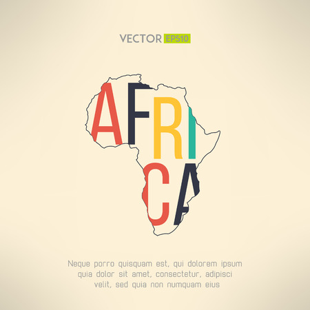 África esquema continente con el texto en el interior. Elemento Infografía y los viajes. Las letras no se cortan y fácil de mover. Ilustración vectorial Ilustración de vector