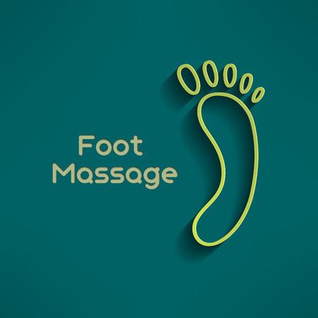 Bright foot massage sign on dark green background. Footprint sign. Relaxation emblem. Vector illustration. Vector