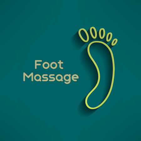 reflexology: Bright foot massage sign on dark green background. Footprint sign. Relaxation emblem. Vector illustration. Illustration
