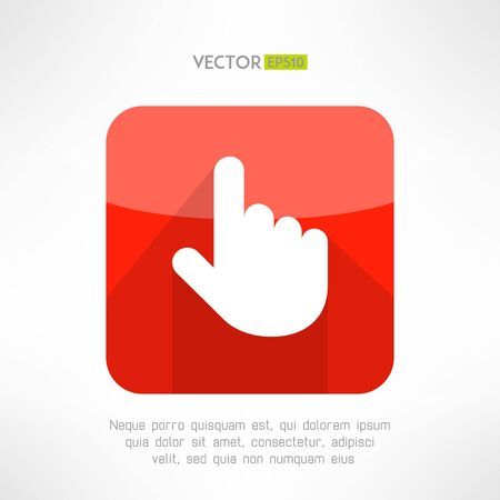 click button: Finger pointer in modern flat design. Click button with long shadow. Choosing and interaction concept. Vector illustration