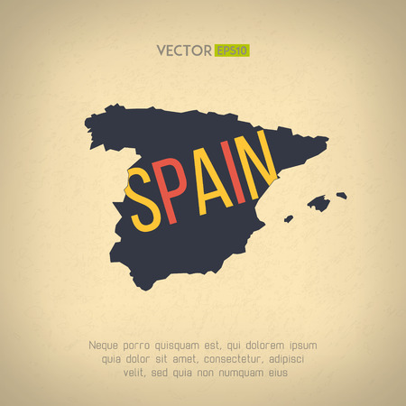 Vector india map in flat design indian border and country name vector spain map in vintage design spanish border on grunge background letters are not gumiabroncs Images