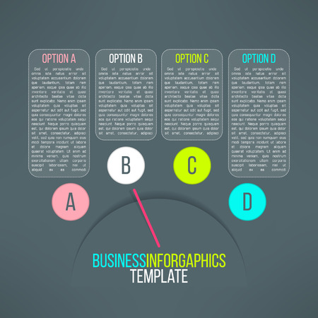 instru��o: Vector business process steps infographic elements. Options choice, instruction or presentation template with pointer.