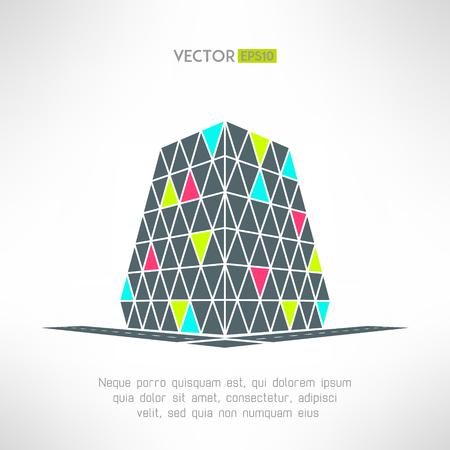 centro comercial: Vector edificio puzzle en pespective. Compras símbolo centro comercial. Supermercado