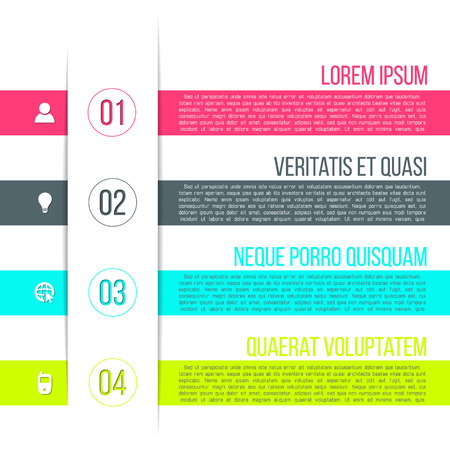 Vector business process steps infographic template. Colorful options choice, instruction or presentation circle elements.